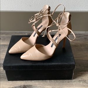 "French Connection 4"" Nude Leather Mule with Tie"